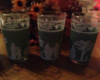Vintage Green Wedgewood Jasperware Drinking Glasses BarwareGlasses set of 4