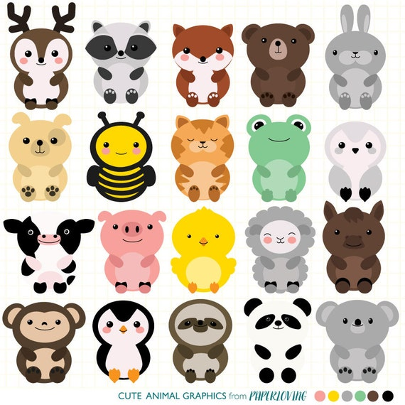 cute animal clipart set mega pack of 20 cute animal vector graphics rh etsystudio com cute animal clipart free cute animals clip art