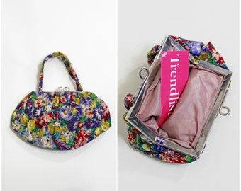 50s Floral Print Bag / Top Handle Bag / Micro Bag / Mini / Flower Print / Rainbow / Multicolour / Elegant / Pretty / Purse / 1950s