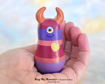 Handmade Monster Figurine, Purple, Red Striped, Gold, Miniature Sculpture, Hug Me Monster, Good Luck Charm Figure, Personalized Tag