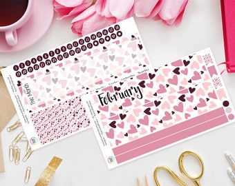 Love Hearts Erin Condren Monthly View Planner Sticker Kit, Any Month, Undated, Pink, Hearts, Valentines, Girly, Life Planner, Monthly Kit
