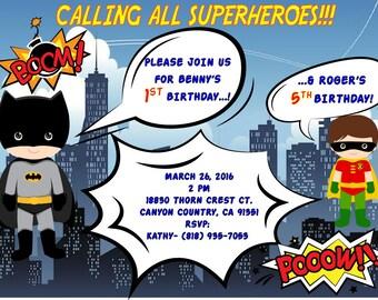 Batman and Robin Comic Invitation