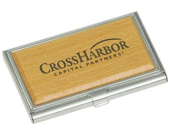 Personalized Silver/Wood Business Card Holder