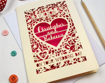 Personalised Papercut On Your Wedding Day Card, Laser Cut Wedding Card, Paper Cut Card for Weddings, sku_On_Your_Wedding_Day