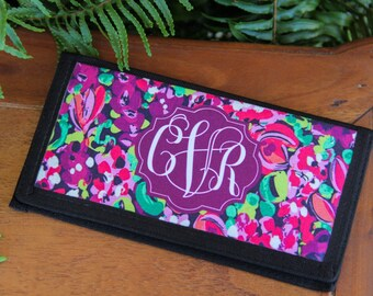 Personalized Checkbook Cover, Custom Made Checkbook Cover, Monogrammed Checkbook Cover, Monogrammed Checkbook Cover with Credit Card Holder