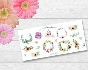 Flower wreath planner stickers