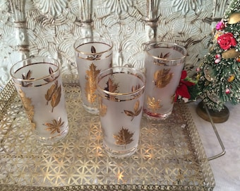 Vintage Libbey's Holiday Glasses Set of 4 Gold Embossing/Frosted