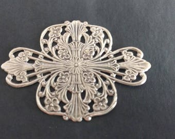 Victorian Styled Antique Filigree Wrap Stamping Brass Silver plated Gothic