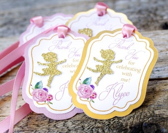 12 Ballerina, Dancer Personalized Favor/thank you tags