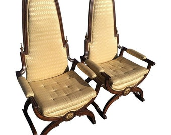 Pair of Hollywood Regency Throne Chairs