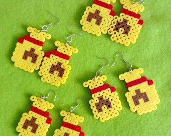 Animal Crossing Bell Bag Perler Bead Sprite Earrings