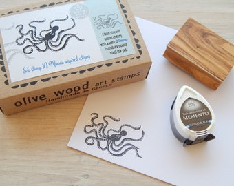 Minoan Inspired Octopus - Boxed Greece Inspired Stamp and Ink Pad