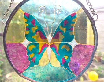 Butterfly Turquoise Stained Glass Suncatcher