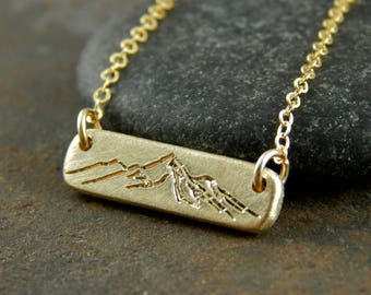 "Gold bar necklace, mountain necklace, solid gold bar necklace with engraved mountains, thick solid 14k gold, 5 x 1.5 mm, about 3/4"" wide."
