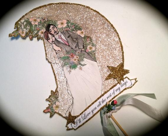 Wedding Cake Topper - Custom Portrait- Portrait Cake Topper- Custom Illustrated - Personalized - Hand Painted