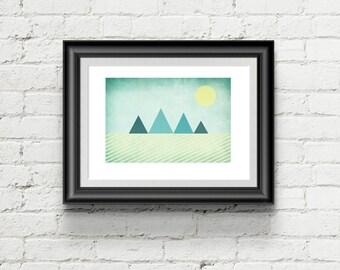 Minimal Mountain Scene Art Print, Geometric Giclee Art Print Gift