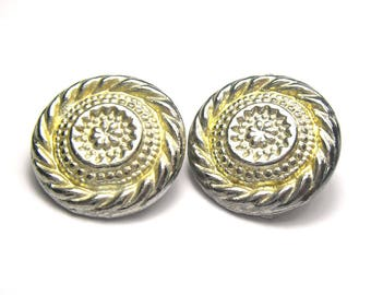 Vintage Clip on Earrings/Circular Earrings/1980s Clip Ons/Christmas Gift for Her/1980s Jewellery/Metal Clip on Earrings/Metal Earrings