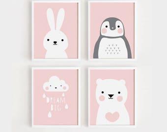Printable Nursery Art Set of 4 Poster Baby Girls room Wall art Child room decor Pink color print Digital file INSTANT DOWNLOAD
