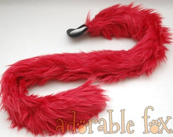 Faux Fur Cat Tail - Burgundy - Cosplay / Furry / Costume