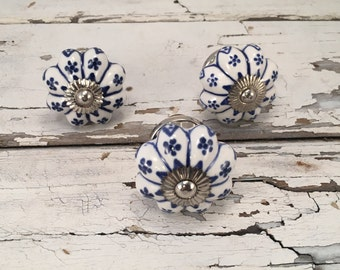 Antique White & Cobalt Blue Knobs, Decorative Pull Knob, Craft Supply, Furniture Ceramic Drawer Pulls, Cabinet Supplies, Item# 275743670