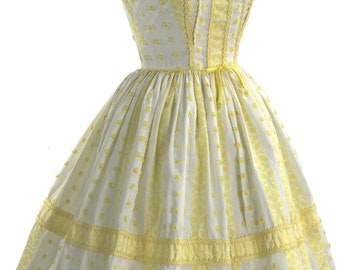 RESERVED Late 1950s Early 1960 Buttercup Yellow & White Cotton Dress - 50s - 60s Buttercup Yellow Dress
