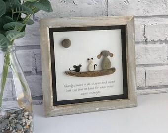 "Handmade Rustic Framed Pebble Art ""Animal Family"", Pebble Art Animals, Pebble Picture Animals, Pebble Gifts, Framed Pebble Pictures"