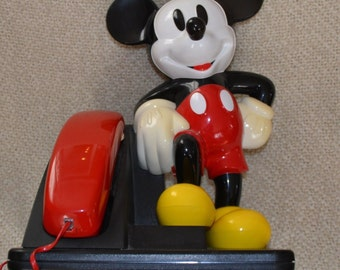 MICKEY MOUSE Touch Tone PHONE, Red and Black,   Vintage 1990, Works Perfectly, Meas.  14 high 10 wide,