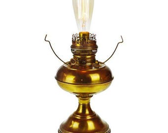 Vintage Brass Rayo Electrified Oil Lamp