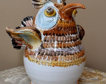 "Vintage '90s Ceramic Quirky Kitschy Owl Sculpture Hand Made Folk Art Pottery 8"" Statue Figurine"