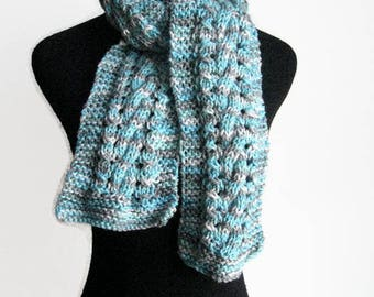 The Stef Scarf, Hand Knitted Scarf, Aqua,Grey and White Cable and Lace Knit Scarf,Vegan Knits, Winter Scarf