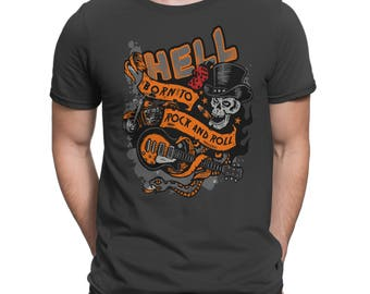 New Rockabilly Men T-shirt Hell Born To Rock And Roll