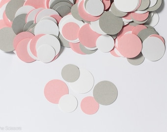 Modern Pink and Gray Circle Confetti, Girl Baby Shower Decorations, Circle Confetti