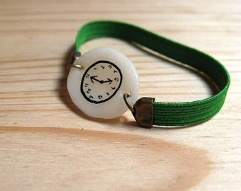 GREEN Fake watch bracelet with elastic watchband. Toy clock. One-of-a-kind handmade Porcelain charm.