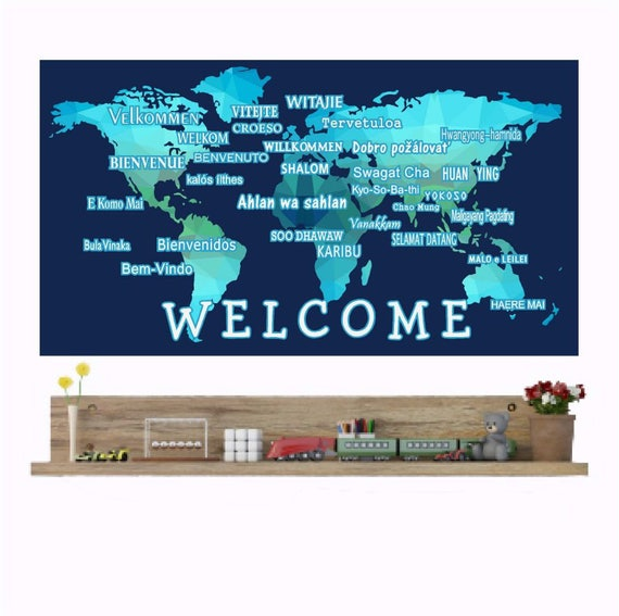 Welcome wall decals international languages world map wall like this item sciox Images