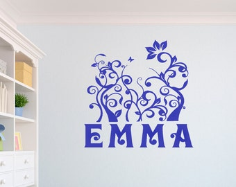 Personalized Name Wall Decal Girls Bedroom Name Decal Nursery Wall Flower Name Decal Girls Wall Flowers Girl Custom Name Wall  Decal