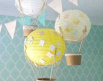 Whimsical Hot Air Balloon Decoration DIY kit YELLOW , nursery decor , travel theme Baby shower , Baby Girl , travel theme nursery - set of 3