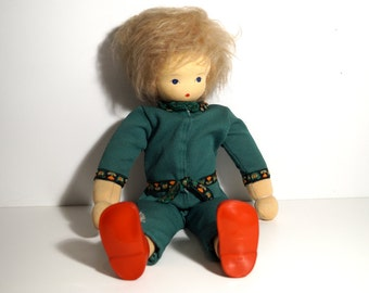 Vintage doll. Vintage hand made cloth  doll from 70 s. Children's room decor, Toys. Stuffed doll. Gift for Girl.