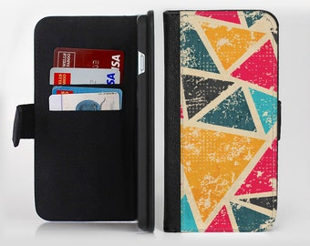 The Chipped Colorful Retro Triangles lnk-Fuzed Leather Folding Wallet Case For the Apple iPhone and Samsung Galaxy Devices