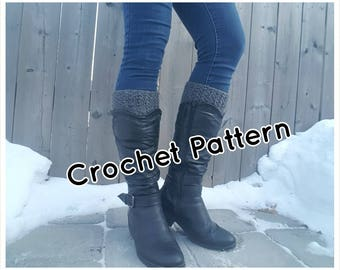 Crochet PATTERN Boot Cuffs, Boot Toppers, Crochet Boot Socks -  Instant Download - 4 Sizes - PDF Pattern - Make it yourself - Pattern #12