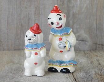 Vintage Brayton Laguna Salt n Pepper Shakers Clown and His Clown Dog, Novelty, Kitschy, Clown Collector, Playful Clown Display, Dog Lover