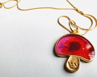 Resin Cast Mushroom Pendant, Goldtone Necklace