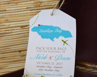 Magnet Save the date. Jamaica save the date. Luggage tag save the date. Magnet luggage tag.