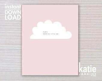 girls art print -  kids wall art - girls art - 8x10 print - instant art - printable art - freehand text - girls print - always dream big