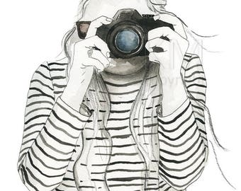 Watercolor Painting Print 'Girl Behind the Lens' -- Camera Photography Fashion Illustration Home/office decor and wall art