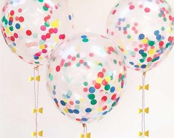 Confetti Balloons (set of 8), Rainbow Confetti Decor, Meri Meri Party Balloons, Birthday Party Decorations, Toddler & Kids Rainbow Party