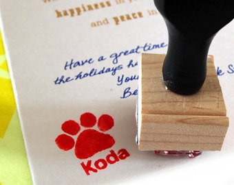 Custom Paw Print Stamp - Personalized with Pet's Name - Dog Paw - Signature for Card - Dog sign card