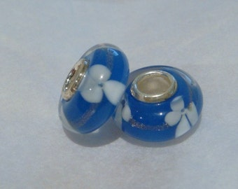 Blue and white floral 925 silver core lampwork beads