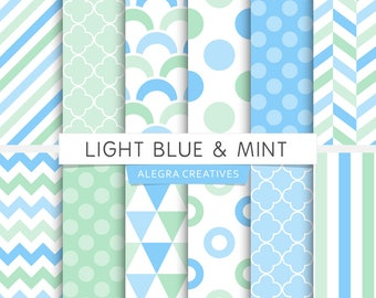 Light Blue & Mint digital paper, polka dot, chevron, stripes, geometric patterns, scrapbook papers (Instant Download)