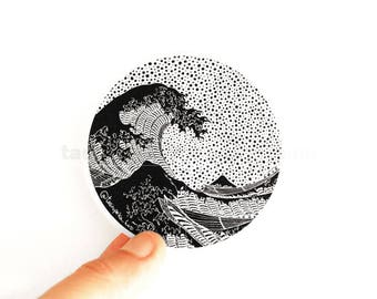 Sticker The Great Wave of Kanagawa, Japanese wave, Waves vinyl, Japanese Art, Beach sticker, Big wave, Vintage surf, Decal Art, famous decal
