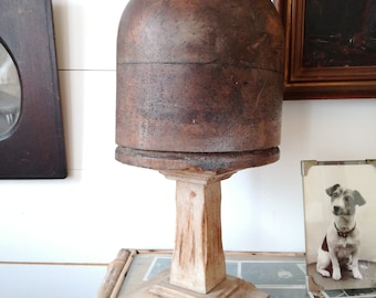 Beautiful Hat Block Display wooden 1900s Millinery Crown Mould
